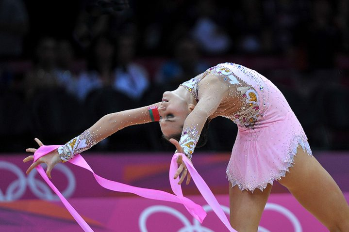 August 11, 2012; London, Great Britain;  LIUBOV CHARKASHYNA of Belarus performs with ribbon during AA final at London Olympics.